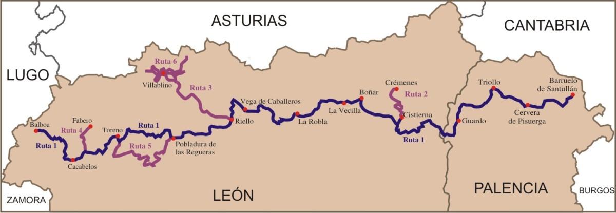 Mapa en la que queda reflejado las etapas de la Ruta 1 y las otras rutas adyacentes a la principal.